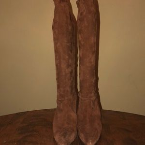 Manolo Blahnik Suede Boots with Kitty Heel
